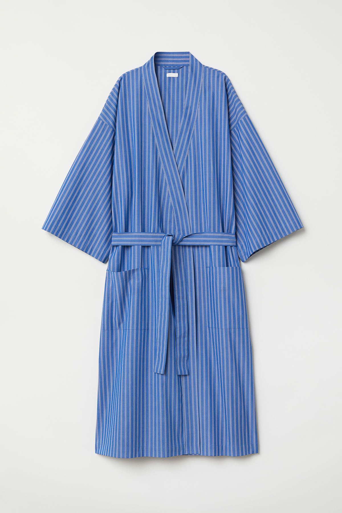 b3ef0c8ded32 Bright blue/striped. Striped bathrobe in crisp, woven fabric with  3/4-length sleeves. Tie belt at waist, patch front pockets, and slits at  sides.