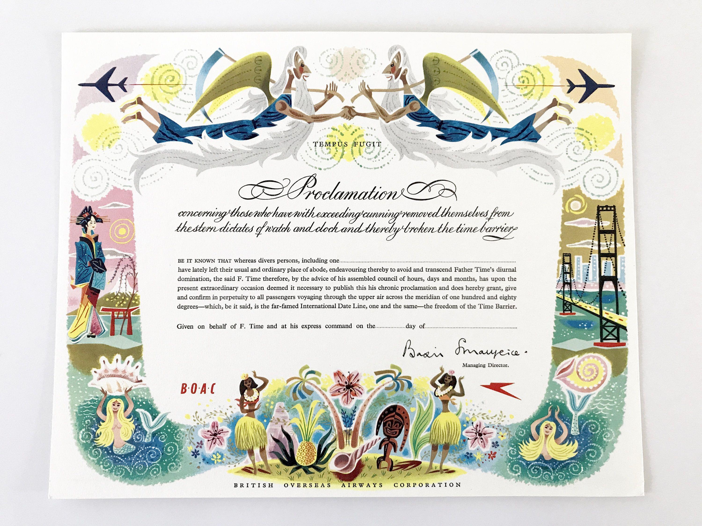 Vintage Certificate Boac Airlines Paper Ephemera Travel