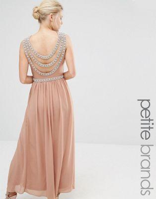 TFNC Petite Wedding Embellished Back Detail Maxi Dress