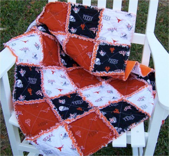 University+of+Texas+Shabby+Chic+Baby+Rag+Quilt+by+SewingForKendra
