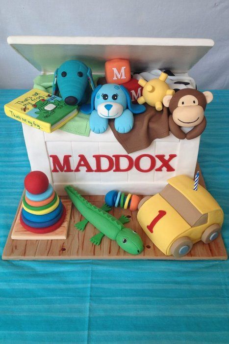 Remarkable 1St Birthday Toy Box Cake Everything Is Edible Toys Are Floor Funny Birthday Cards Online Elaedamsfinfo