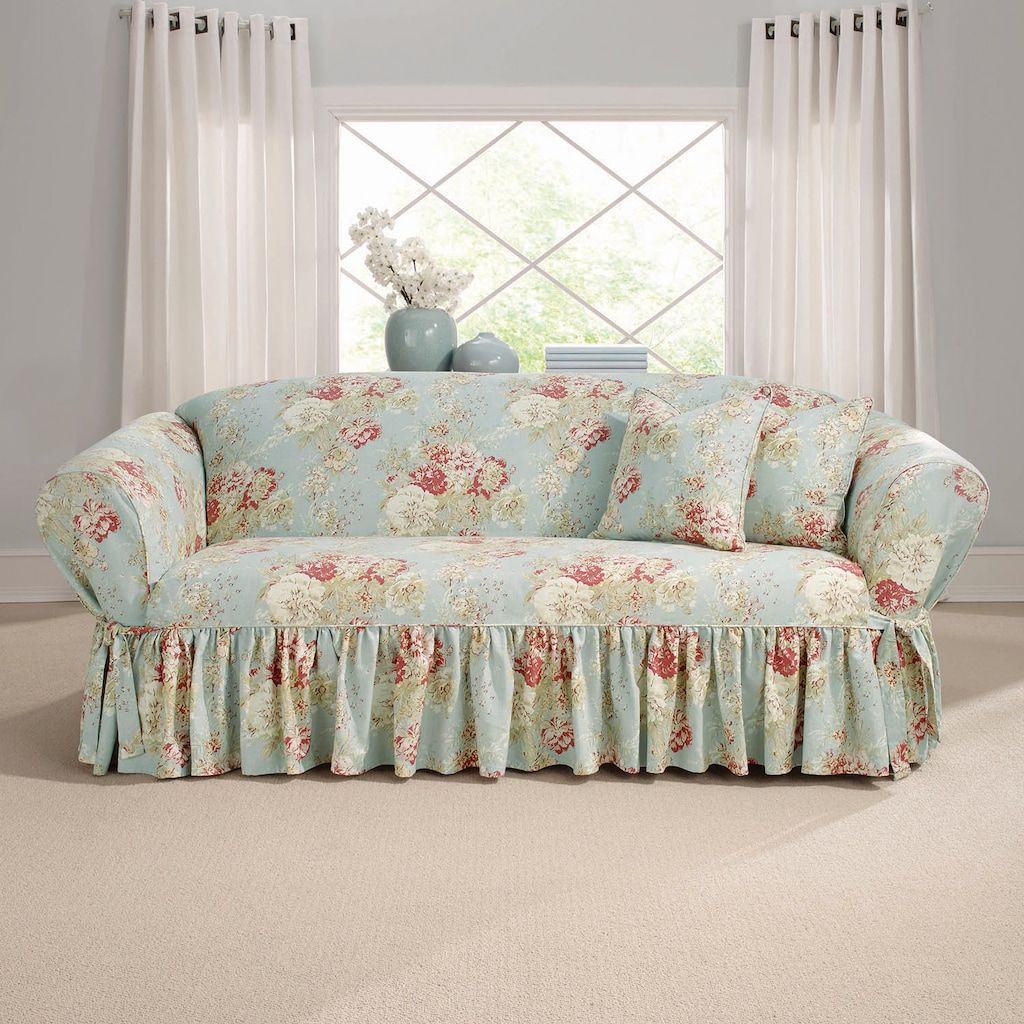 Sure Fit Waverly Ballad Bouquet Sofa Slipcover, Blue In