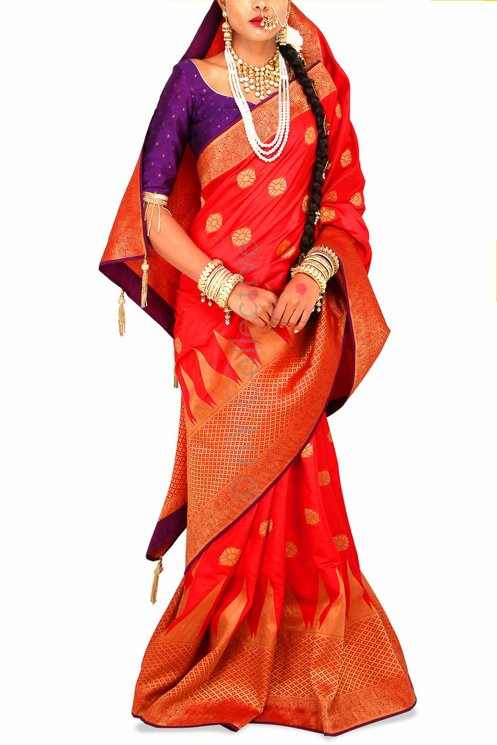 Temple Red Brocade Sari with Purple (Code-S1705) Price: INR 6790 To shop visit: http://www.6ycollective.com/products/S1705/