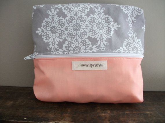 Grey and Coral Splash by HASinspiration on Etsy, $15.00