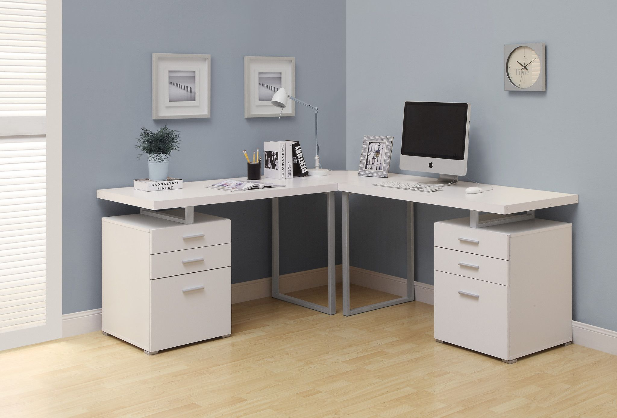 Computer Desk   White L Shaped Corner Desk