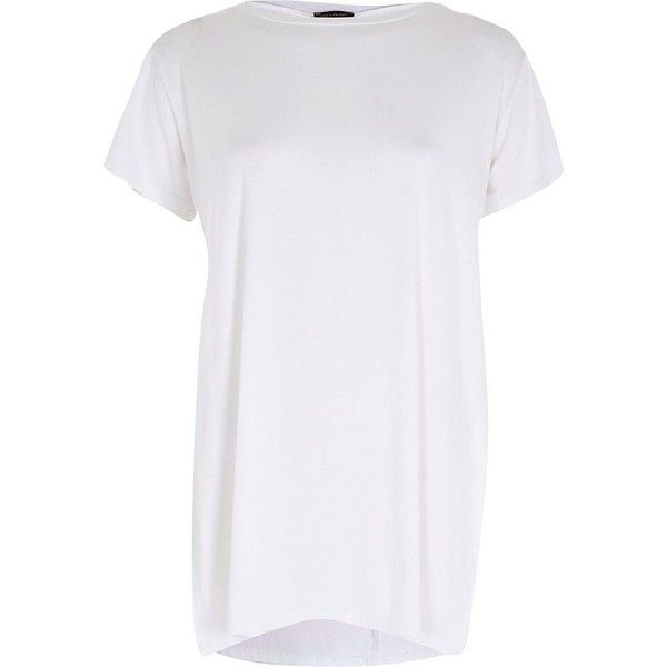 tecniche moderne cerca genuino vasto assortimento River Island Plain white short sleeve side split t-shirt ($18 ...