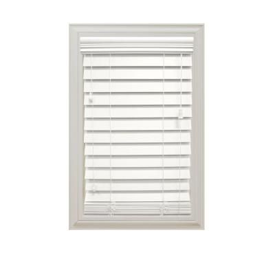Home Decorators Collection White Cordless 2 1 2 In Premium Faux Wood Blind 36 In W X 64 In L Actual Size 35 5 In W X 64 L 10793478361908 Faux Wood Blinds White Wood Blinds Wood Blinds