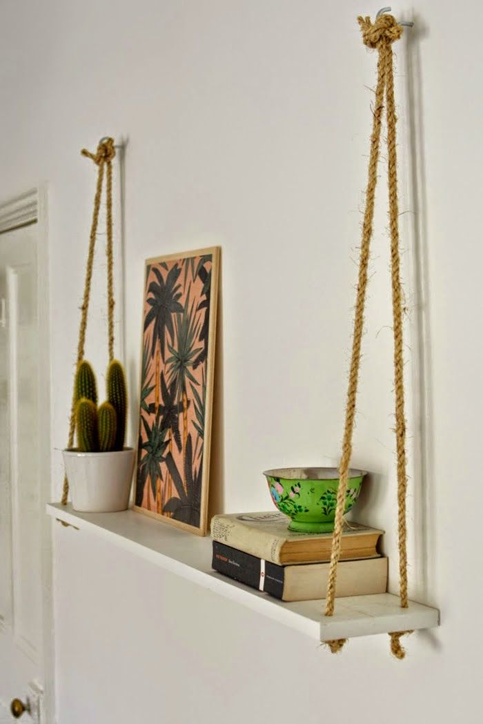 DIY: Estanterías hechas con cuerda de saco | Pinterest | Pequeñas ...
