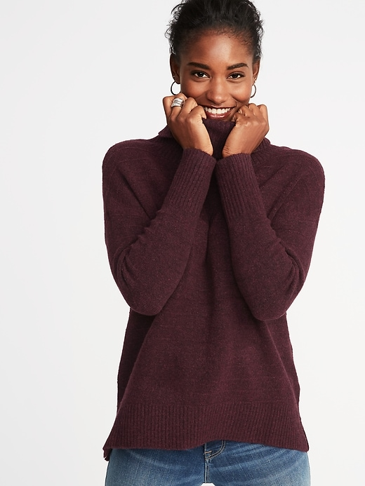 69e1153d0e545 Slouchy Garter-Stitch Turtleneck Sweater for Women | things i want ...