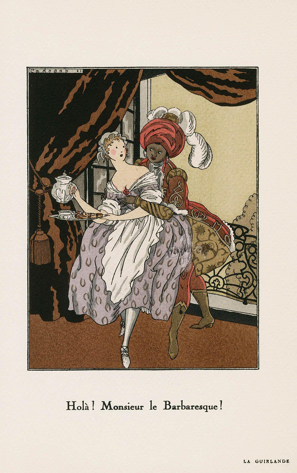 """Antique prints of """"Cadogan Holà! Monsieur le Barbaresque!"""" from La Guirlande. Album mensuel d'Art et de Littérature Original Pochoir Prints 1919"""