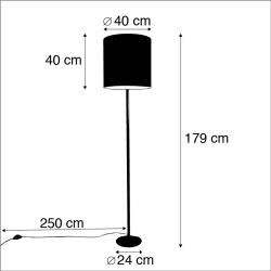 Stehlampe antik grau Veloursschirm blau 40 cm – Simplo Retro E27 Innenbeleuchtung Qazqa