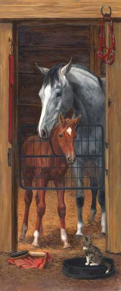 Stable door with horses wall paper mural use for g 39 s - Pferde tapete kinderzimmer ...