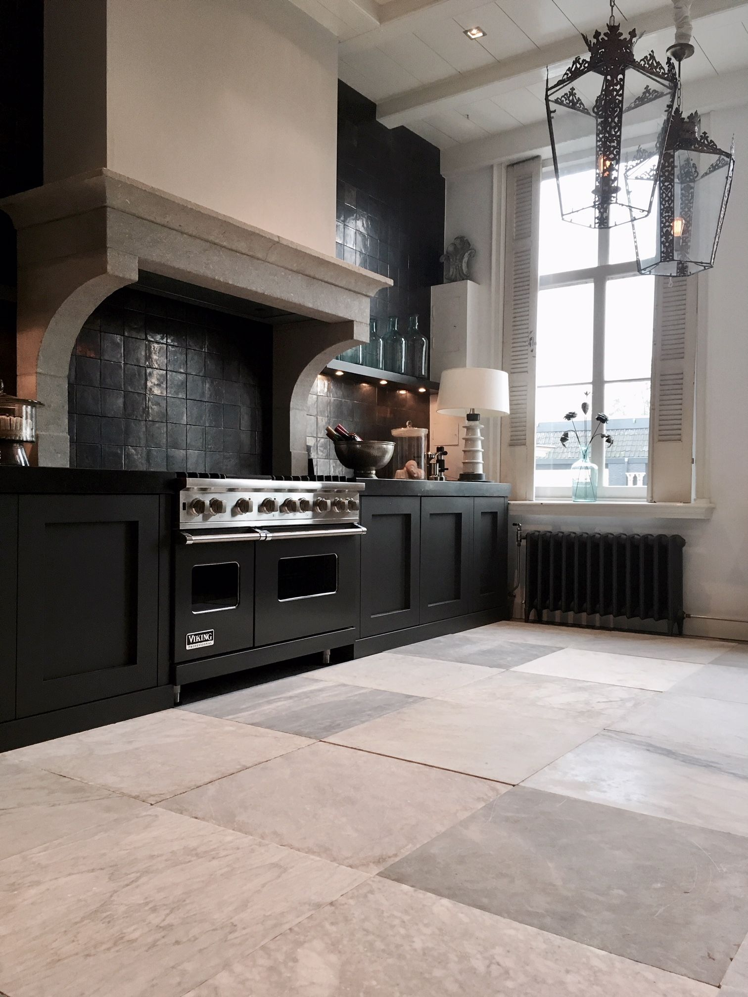 Beautiful Antique Marble Floor, 18Th Century Hand Carved Tiles, Carrara,