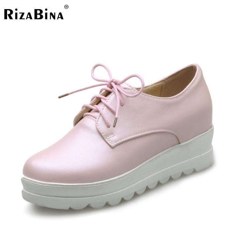 Price tracker and history of RizaBina Spring Women Casual Platform Shoes  Lace Up Round Toe Black Pink White Casual Shoes Women Ladies Shoes Size