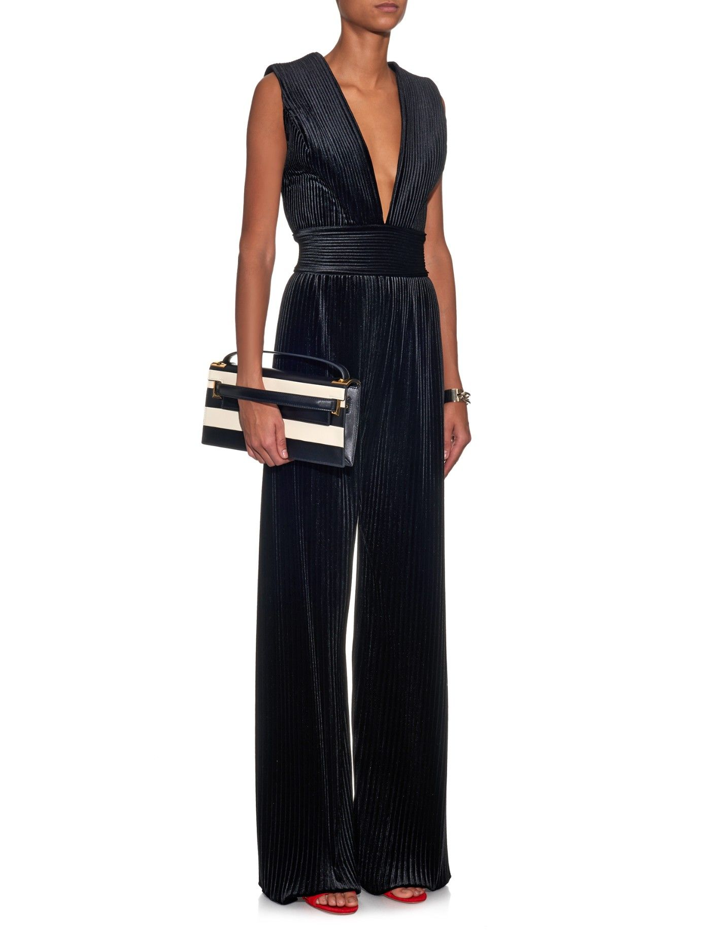 49dc523e0b7c Pleated velvet jumpsuit