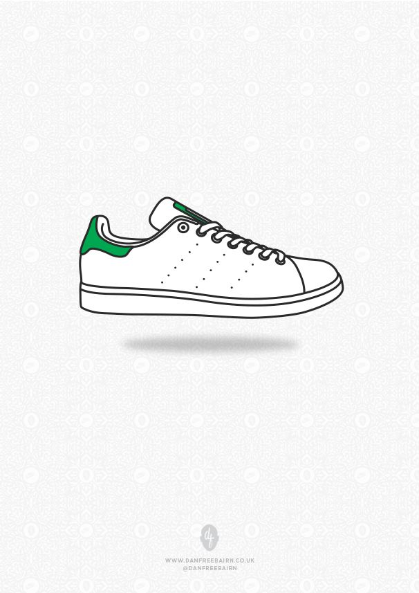 adidas stan smith shoes green stripes pattern vector background