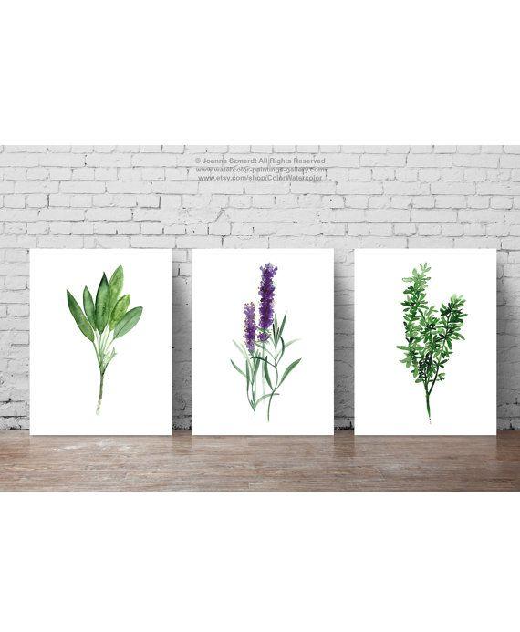 Herbs Set Of 3, Abstract Minimalist Painting, Food Art