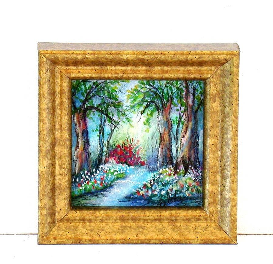 Walk In The Woods Small Scenic Art Print Small Gift Idea Etsy In 2020 Scenic Art Floral Prints Art Landscape Prints