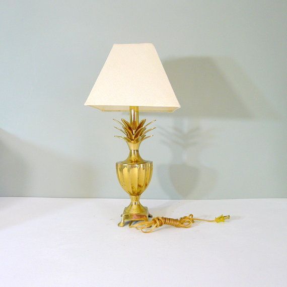 Vintage brass pineapple lamp with white fabric shade trophy urn vintage brass pineapple lamp with white fabric shade trophy urn shape mid century aloadofball Choice Image