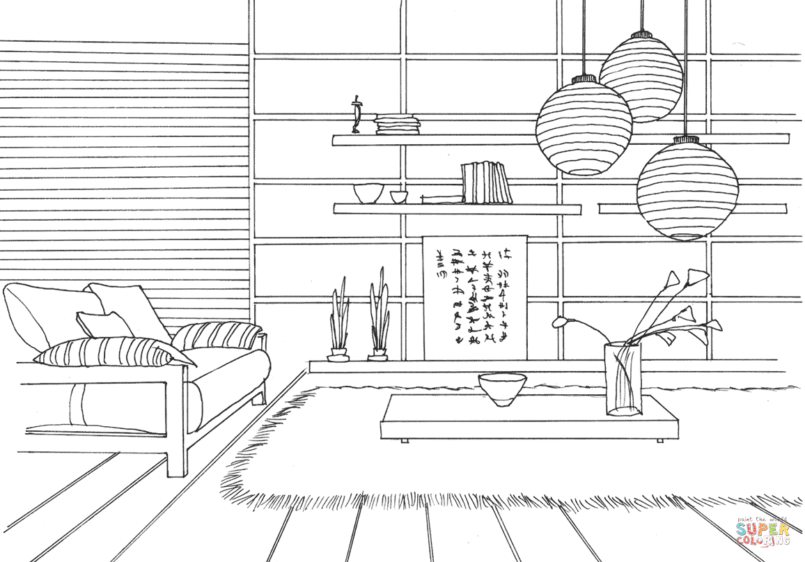 Japanese Style Room Coloring Page Free Printable Coloring Pages Space Coloring Pages Cartoon Coloring Pages Free Printable Coloring Pages