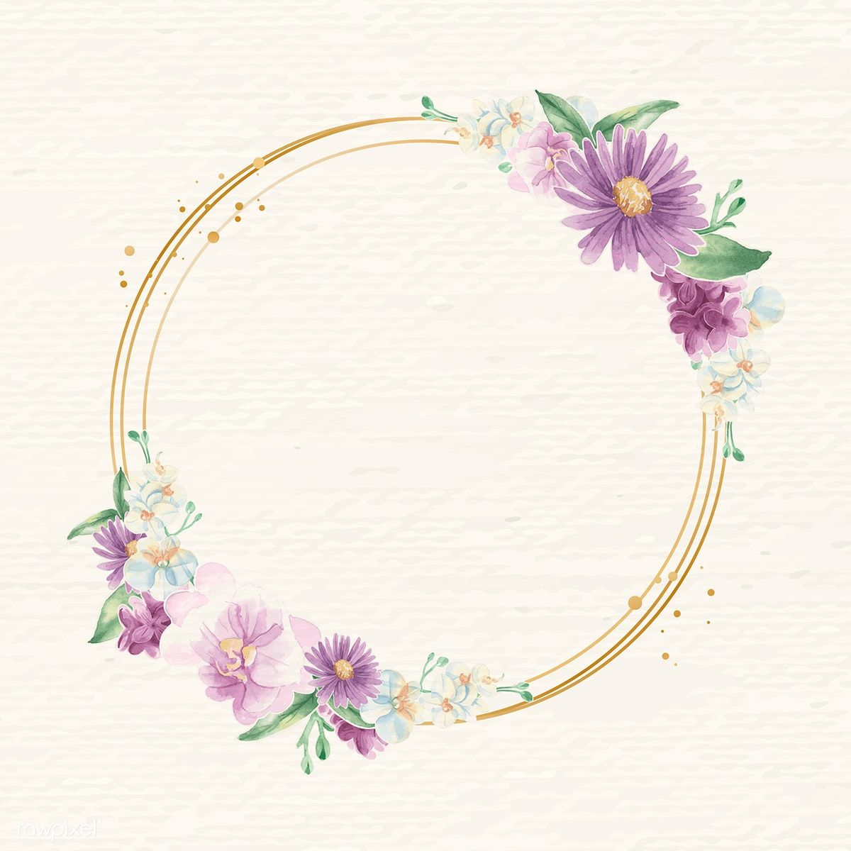 Round gold flower frame vector free image by rawpixel