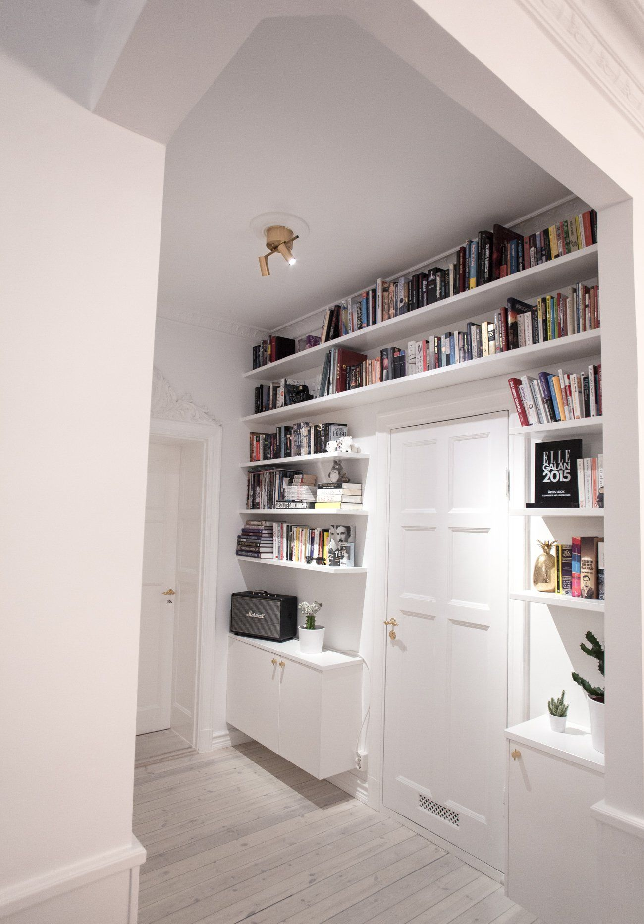 Space saving storage. Love how this keeps the floor level tidy and draws your view upwards. This could work in a small study or shields bedroom also! #compactliving
