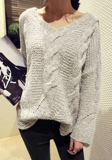V-Neck Cable Knit Sweater - Cozy Knit Sweater