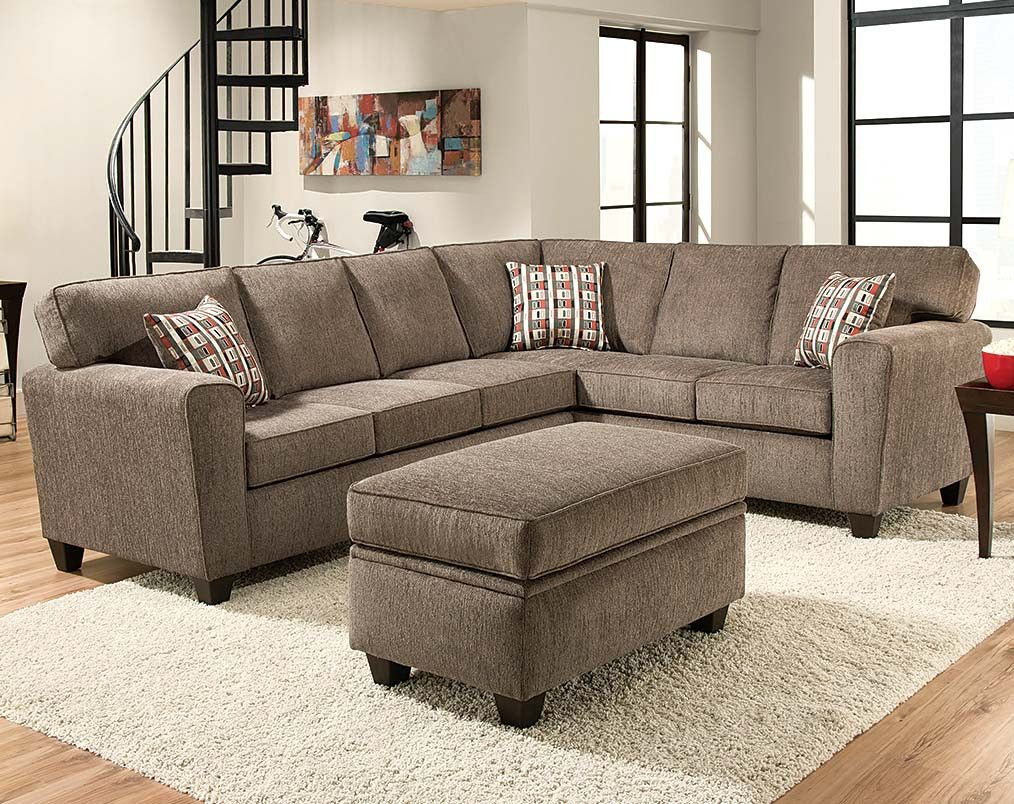Light Gray Two Piece Couch Mickey Pewter Two Piece Sectional