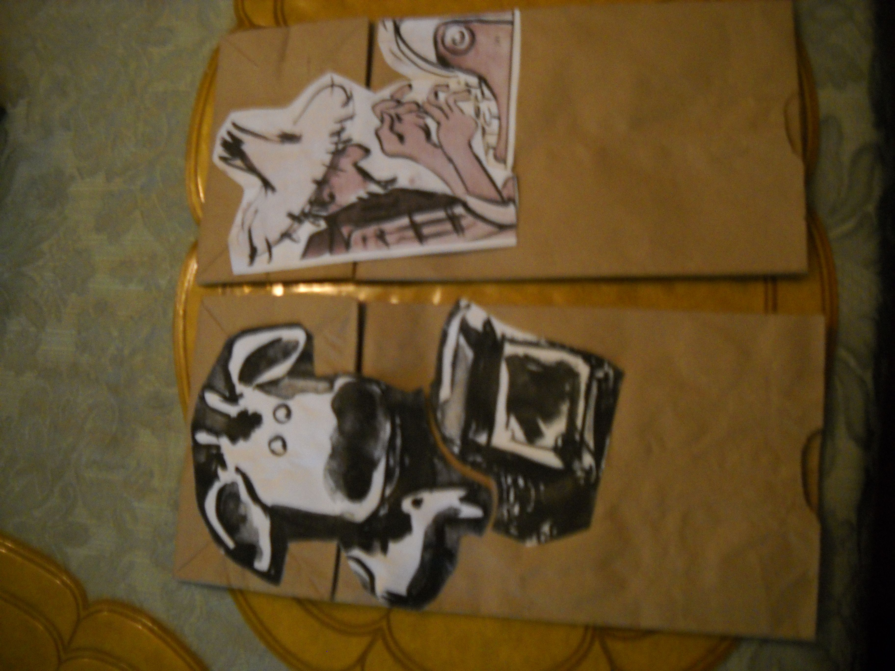 Farmer Brown And Cow Paper Bag Puppets For Use With Click