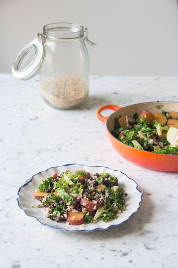 Kale And Sweet Potato Stir Fry Deliciouslyella Sweet Potato Stir Fry Sweet Potato Kale Veggie Recipes