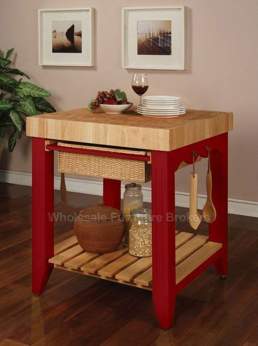 Color Story Crimson Red Butcher Block Kitchen Island By Powell Company Dc