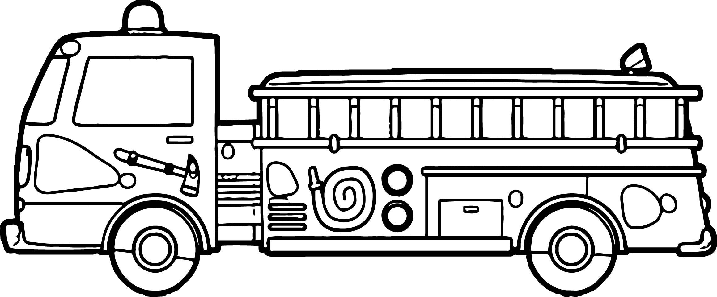 Nice Fire Truck Tall Side Coloring Page