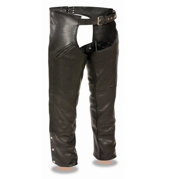 Milwaukee Leather Mens Half Chaps With Back Zipper Black//Brown, XX-Large