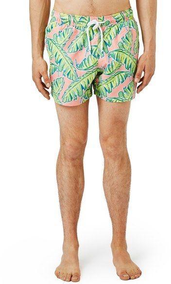 9bc50b5d13 Topman Palm Print Swim Trunks Men's Swimsuits, Swimwear, Swim Trunks,  Nordstrom, Palm