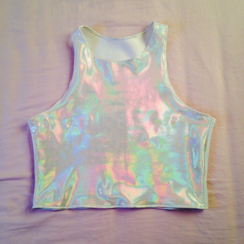 910c2c913db297 Shiny holographic crop top