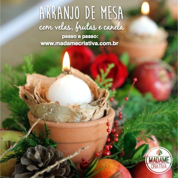 Arranjo De Mesa Para O Natal Com Velas Frutas Flores E Canela