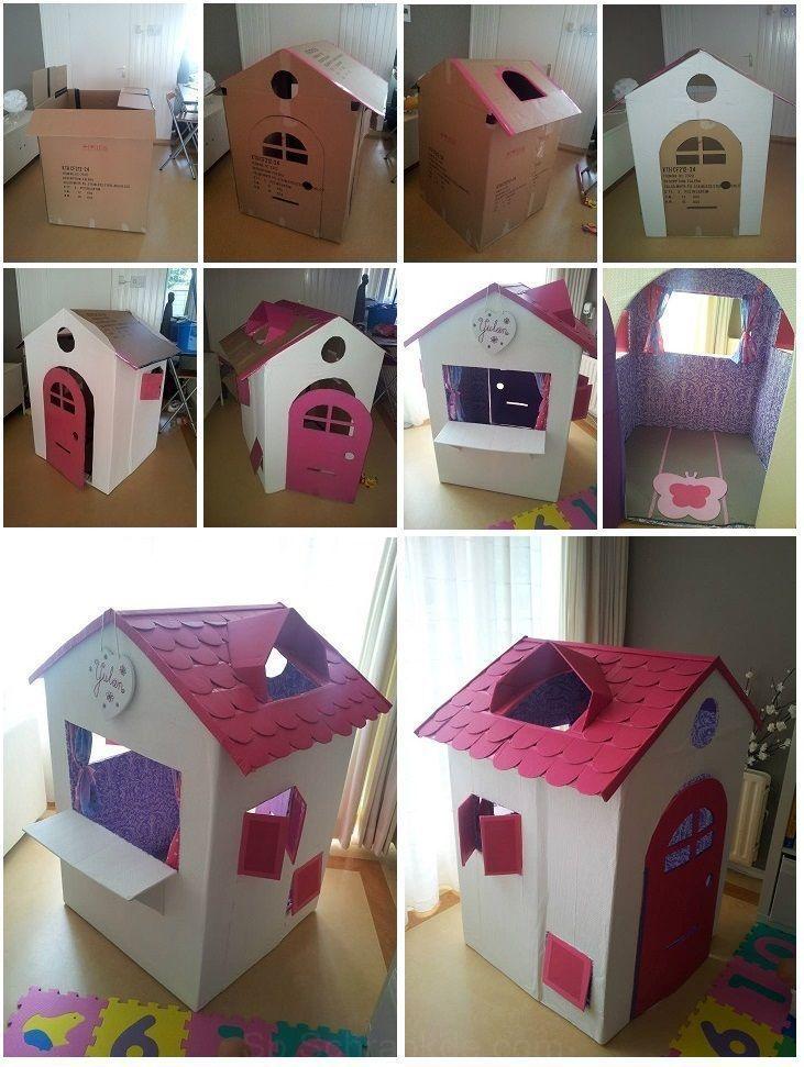 La Casita De Mi Querida Esposa A Partir De 2 Cajas De Cartón Cajas Cartón Hermosa Pla Cardboard Crafts Kids Cardboard Boxes Kids Cardboard Box Crafts