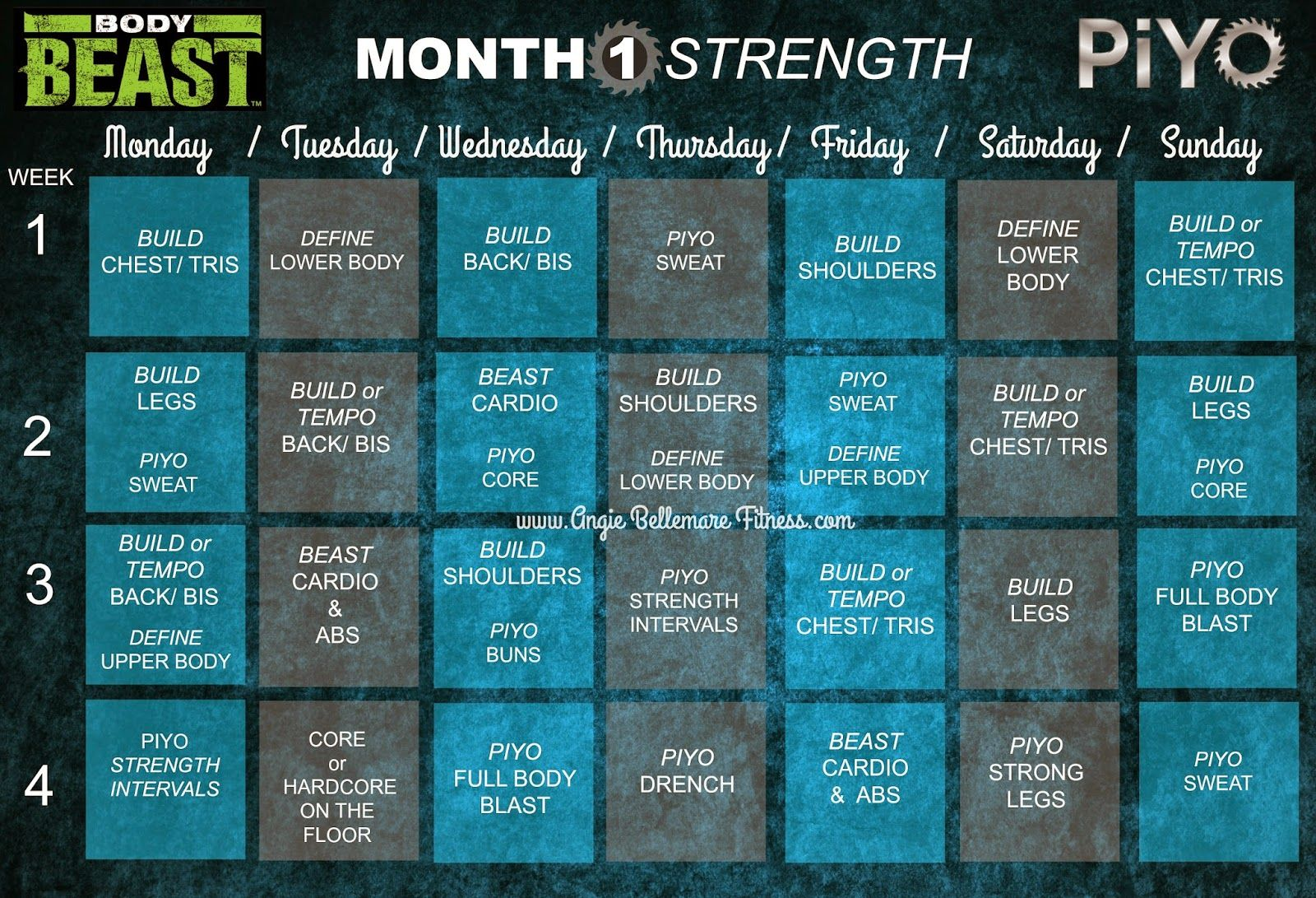 Body Beast Amp Piyo Workout Hybrid Schedule S