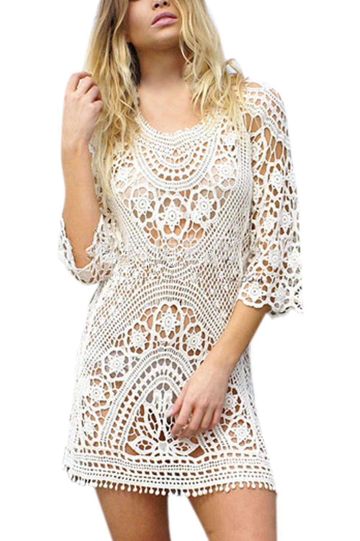 Lace dress cover up  Sexy Crochet Bikini Coverup Lace Dress  Wardrobe collections