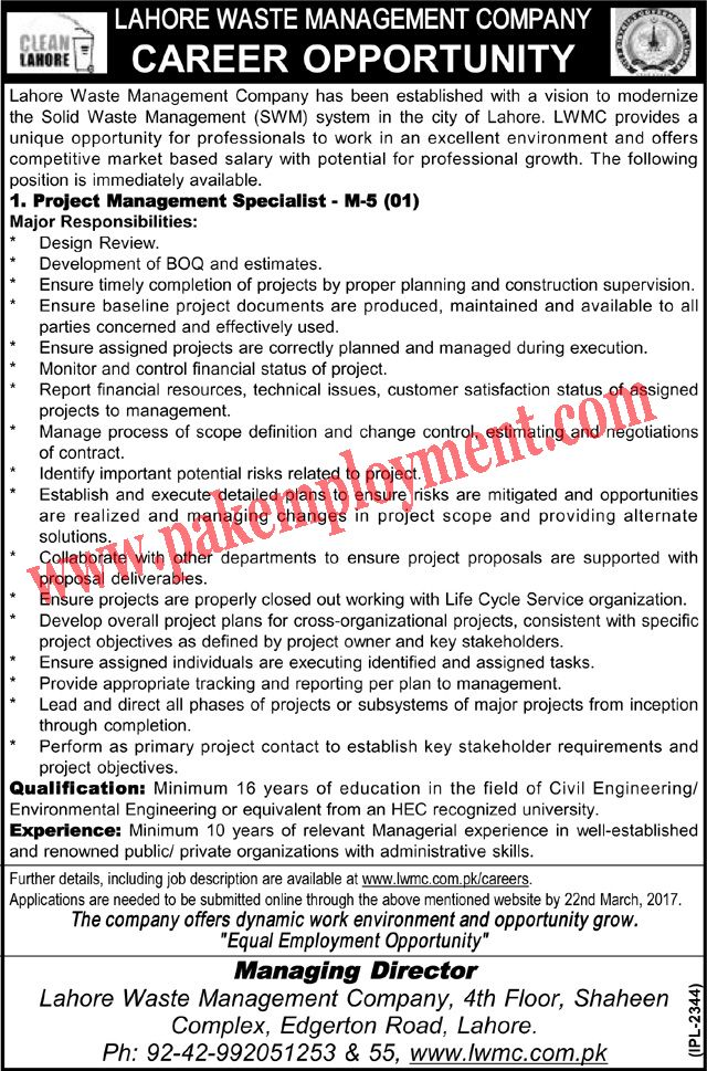 Pakistan Employment Lahore Waste Management Company Jobs
