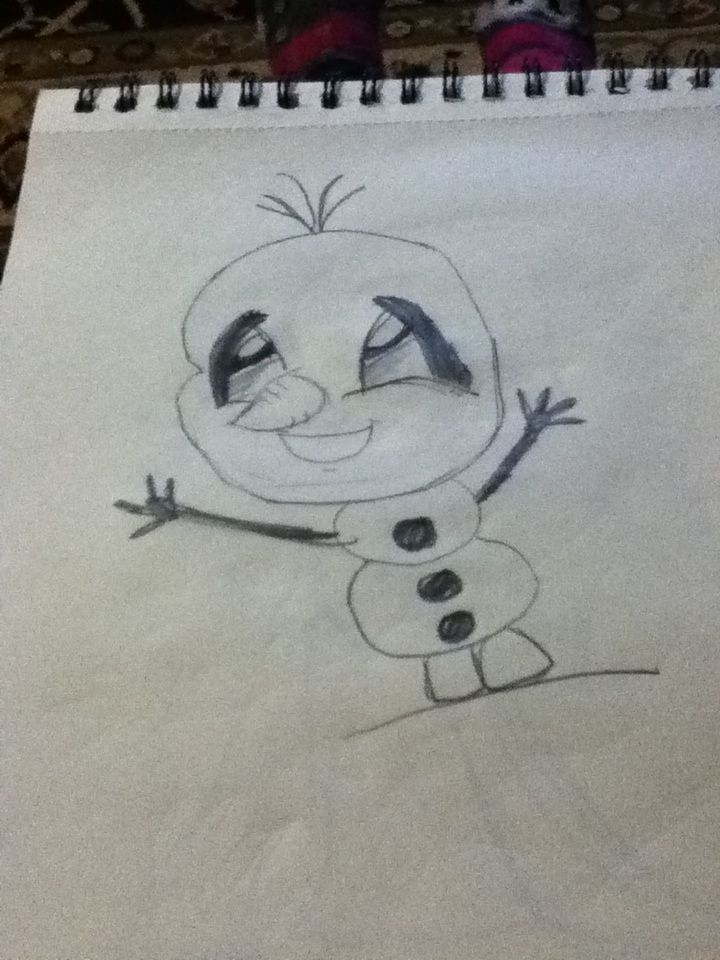 My cartoon drawing of Olaf from frozen