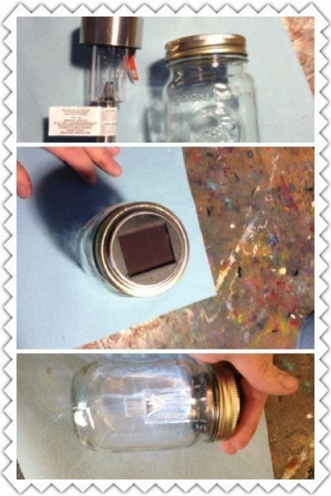 Photo of Masson jar solar light. Took a dollar store light and a jar fit right in. #di