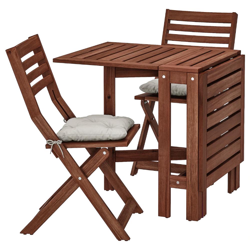 Applaro Table 2 Chaises Pliantes Exterieur Teinte Brun