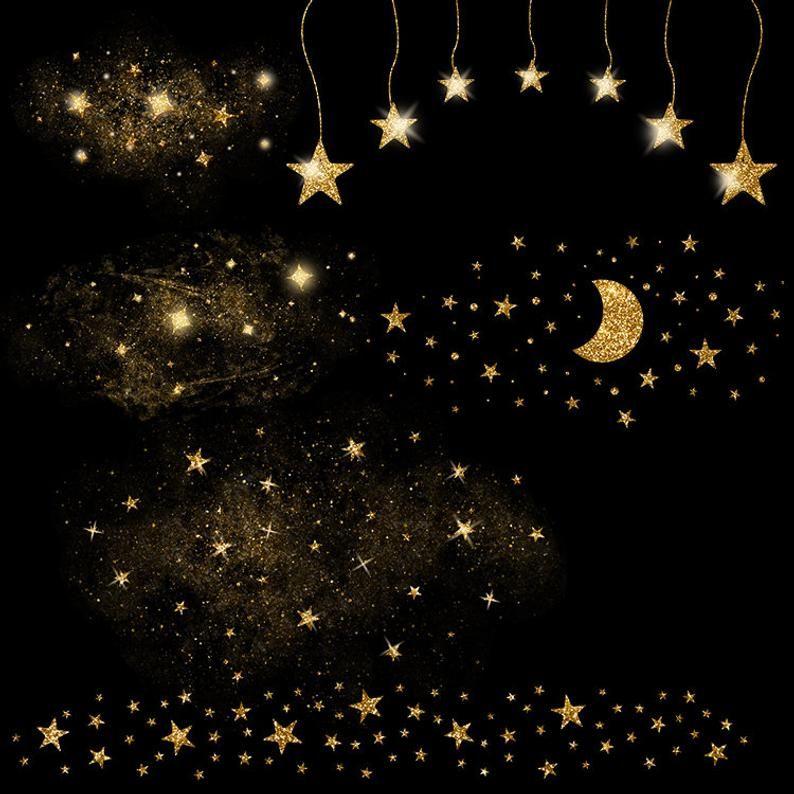Gold Stardust Clipart Gold Stars Clipart Magic Dust Star Etsy Star Clipart Star Overlays Overlays