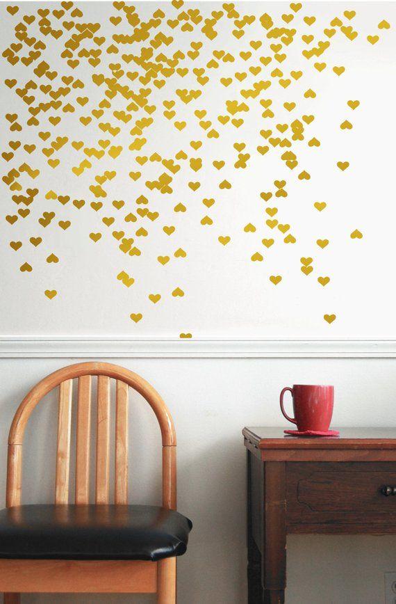 Wall Decal Sticker Nursery Art Gold Decals Pattern Little Hearts