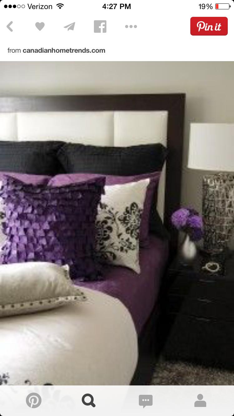 Dark Wood Light Walls Purple Accent