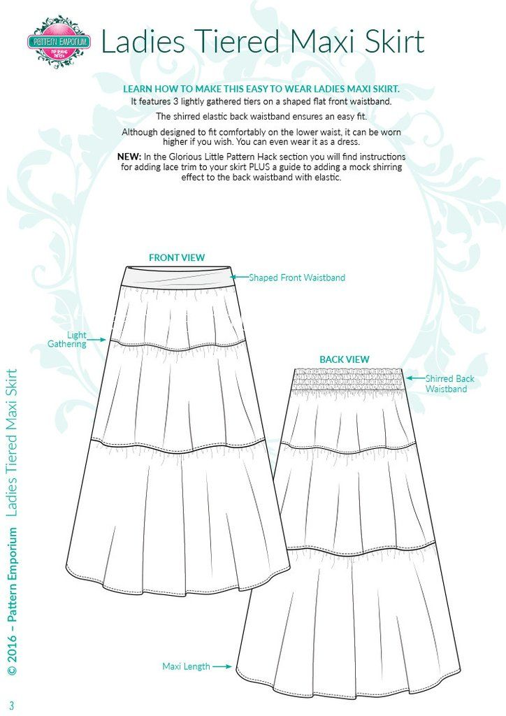 Tiered Maxi Skirt LADIES PDF SEWING PATTERN | Pinterest | Pdf sewing ...