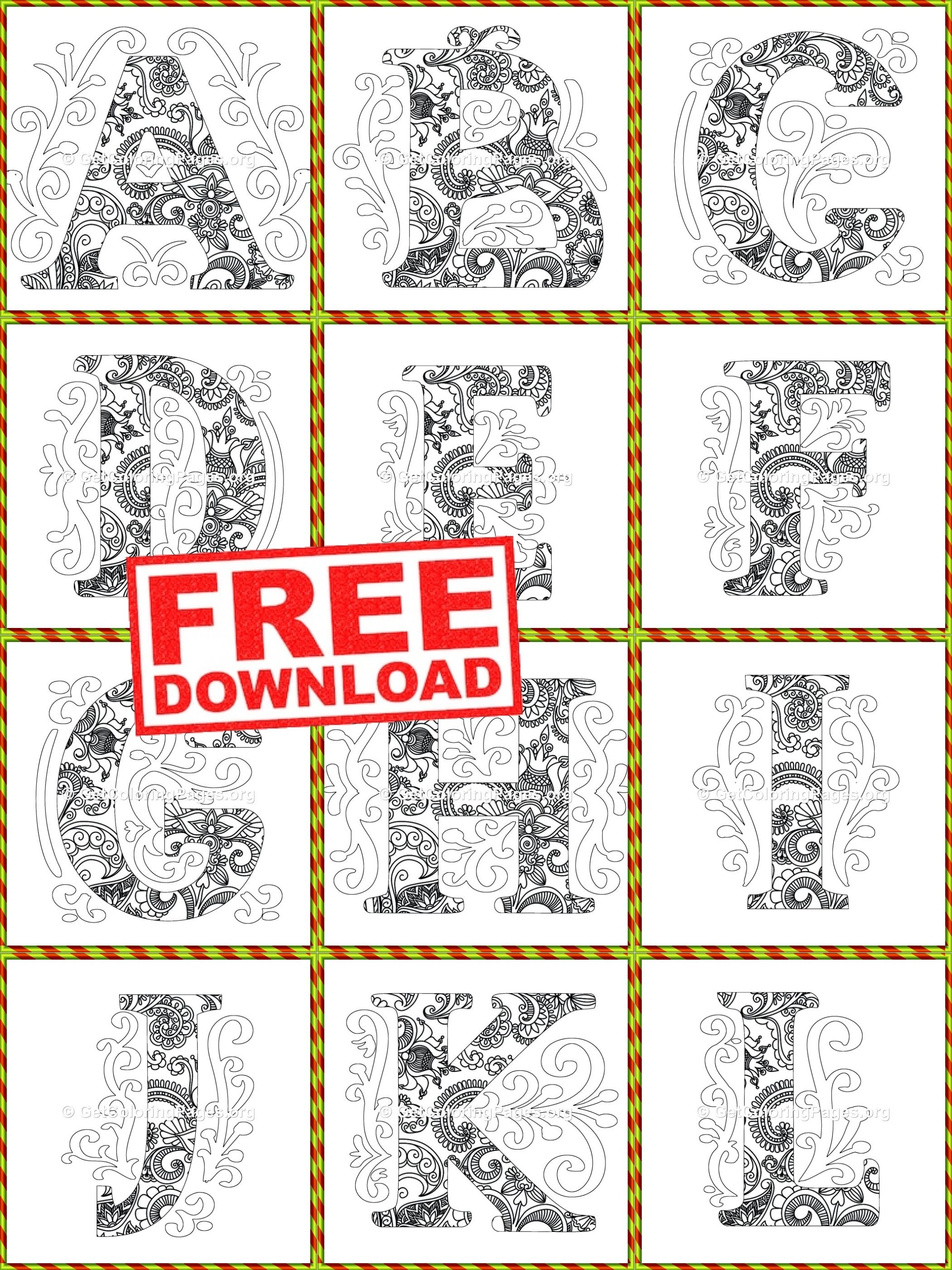 Zen Monogram Alphabet Coloring Sheets Paper Flower Patterns Coloring Pages Monogram Alphabet