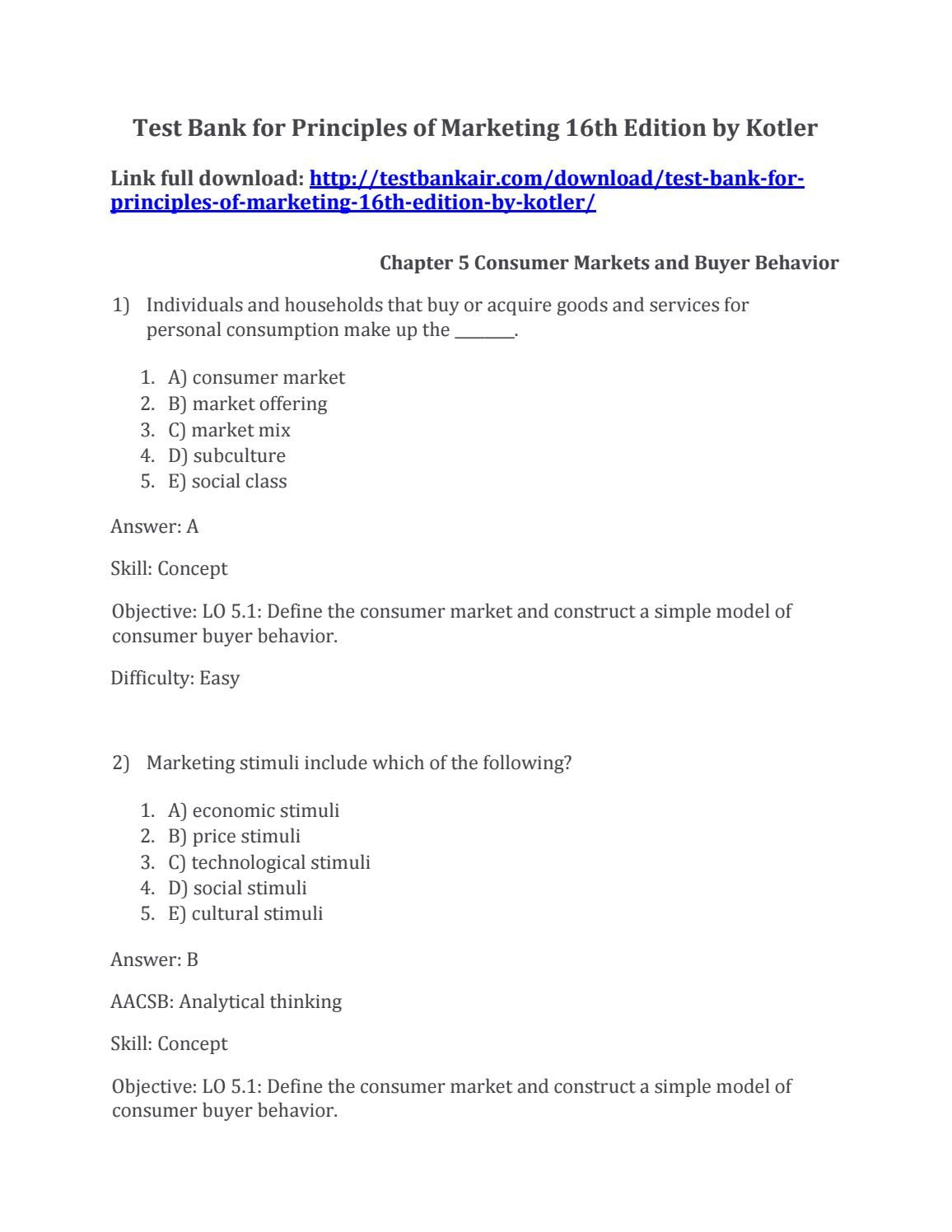 Download test bank for principles of marketing 16th edition by kotler