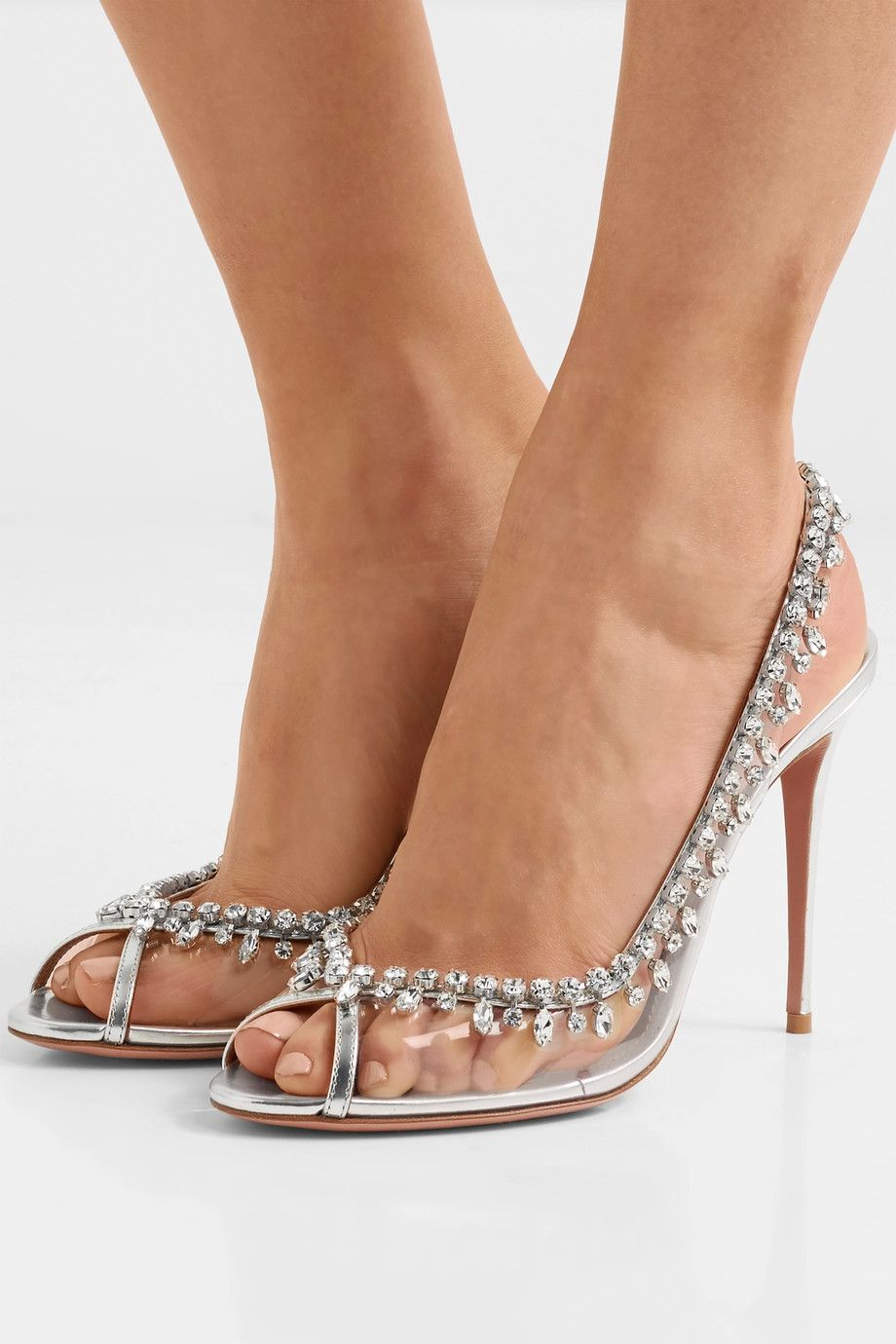 Aquazzura - Temptation embellished metallic leather and PVC slingback pumps
